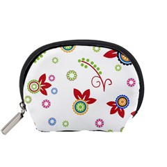 Colorful Floral Wallpaper Background Pattern Accessory Pouches (small)