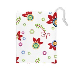 Colorful Floral Wallpaper Background Pattern Drawstring Pouches (Large)
