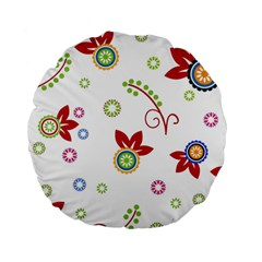 Colorful Floral Wallpaper Background Pattern Standard 15  Premium Flano Round Cushions
