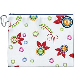 Colorful Floral Wallpaper Background Pattern Canvas Cosmetic Bag (xxxl)