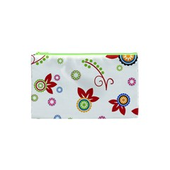 Colorful Floral Wallpaper Background Pattern Cosmetic Bag (XS)