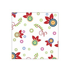 Colorful Floral Wallpaper Background Pattern Satin Bandana Scarf