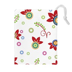 Colorful Floral Wallpaper Background Pattern Drawstring Pouches (Extra Large)