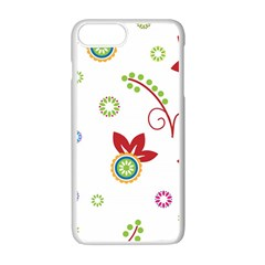 Colorful Floral Wallpaper Background Pattern Apple Iphone 7 Plus White Seamless Case