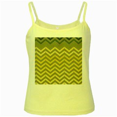 Abstract Vintage Lines Yellow Spaghetti Tank