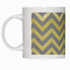 Abstract Vintage Lines White Mugs