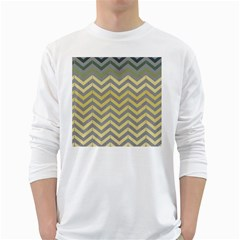 Abstract Vintage Lines White Long Sleeve T-Shirts