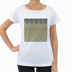 Abstract Vintage Lines Women s Loose Fit T Shirt (white)