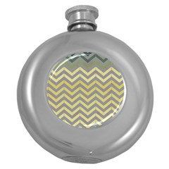 Abstract Vintage Lines Round Hip Flask (5 Oz)