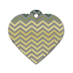 Abstract Vintage Lines Dog Tag Heart (two Sides)