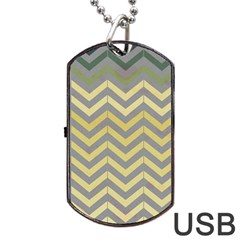 Abstract Vintage Lines Dog Tag Usb Flash (one Side)