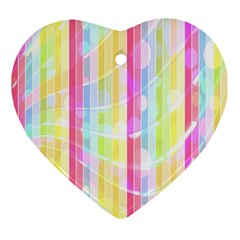 Colorful Abstract Stripes Circles And Waves Wallpaper Background Ornament (heart)