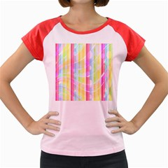 Colorful Abstract Stripes Circles And Waves Wallpaper Background Women s Cap Sleeve T Shirt