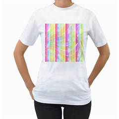 Colorful Abstract Stripes Circles And Waves Wallpaper Background Women s T Shirt (white) (two Sided)