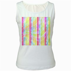 Colorful Abstract Stripes Circles And Waves Wallpaper Background Women s White Tank Top