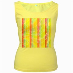 Colorful Abstract Stripes Circles And Waves Wallpaper Background Women s Yellow Tank Top