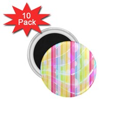 Colorful Abstract Stripes Circles And Waves Wallpaper Background 1.75  Magnets (10 pack)