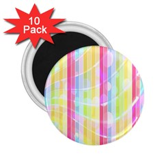 Colorful Abstract Stripes Circles And Waves Wallpaper Background 2.25  Magnets (10 pack)