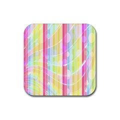 Colorful Abstract Stripes Circles And Waves Wallpaper Background Rubber Square Coaster (4 pack)