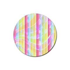 Colorful Abstract Stripes Circles And Waves Wallpaper Background Rubber Round Coaster (4 Pack)