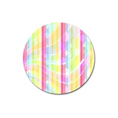 Colorful Abstract Stripes Circles And Waves Wallpaper Background Magnet 3  (Round)