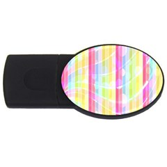 Colorful Abstract Stripes Circles And Waves Wallpaper Background USB Flash Drive Oval (2 GB)