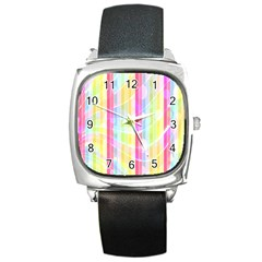 Colorful Abstract Stripes Circles And Waves Wallpaper Background Square Metal Watch