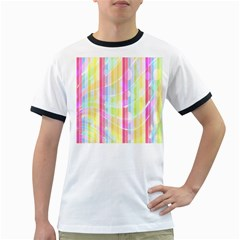 Colorful Abstract Stripes Circles And Waves Wallpaper Background Ringer T-Shirts
