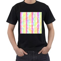 Colorful Abstract Stripes Circles And Waves Wallpaper Background Men s T Shirt (black) (two Sided)