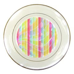 Colorful Abstract Stripes Circles And Waves Wallpaper Background Porcelain Plates