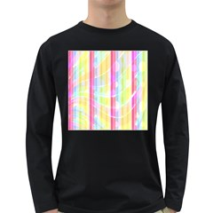 Colorful Abstract Stripes Circles And Waves Wallpaper Background Long Sleeve Dark T-Shirts