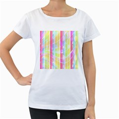 Colorful Abstract Stripes Circles And Waves Wallpaper Background Women s Loose Fit T Shirt (white)