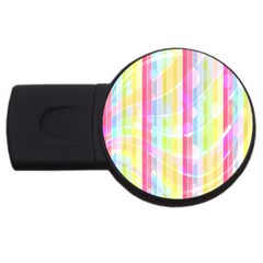 Colorful Abstract Stripes Circles And Waves Wallpaper Background Usb Flash Drive Round (4 Gb)