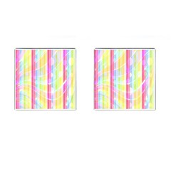 Colorful Abstract Stripes Circles And Waves Wallpaper Background Cufflinks (Square)