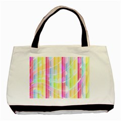 Colorful Abstract Stripes Circles And Waves Wallpaper Background Basic Tote Bag