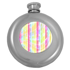 Colorful Abstract Stripes Circles And Waves Wallpaper Background Round Hip Flask (5 Oz)