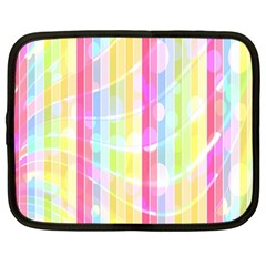 Colorful Abstract Stripes Circles And Waves Wallpaper Background Netbook Case (large)