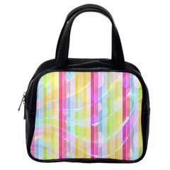 Colorful Abstract Stripes Circles And Waves Wallpaper Background Classic Handbags (one Side)
