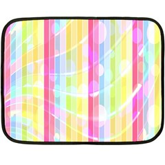 Colorful Abstract Stripes Circles And Waves Wallpaper Background Double Sided Fleece Blanket (Mini)