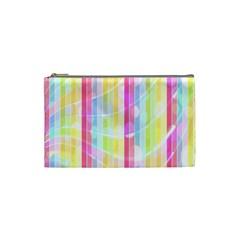 Colorful Abstract Stripes Circles And Waves Wallpaper Background Cosmetic Bag (small)