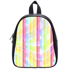 Colorful Abstract Stripes Circles And Waves Wallpaper Background School Bags (small)