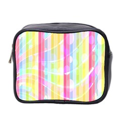 Colorful Abstract Stripes Circles And Waves Wallpaper Background Mini Toiletries Bag 2-Side