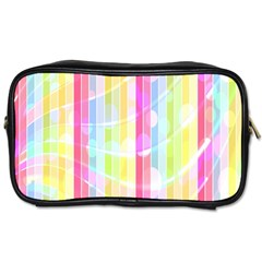 Colorful Abstract Stripes Circles And Waves Wallpaper Background Toiletries Bags 2 Side