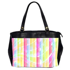 Colorful Abstract Stripes Circles And Waves Wallpaper Background Office Handbags (2 Sides)