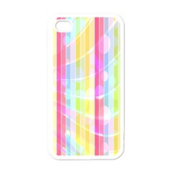 Colorful Abstract Stripes Circles And Waves Wallpaper Background Apple Iphone 4 Case (white)