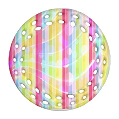 Colorful Abstract Stripes Circles And Waves Wallpaper Background Ornament (Round Filigree)