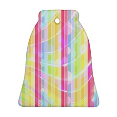 Colorful Abstract Stripes Circles And Waves Wallpaper Background Bell Ornament (two Sides)