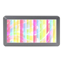 Colorful Abstract Stripes Circles And Waves Wallpaper Background Memory Card Reader (mini)