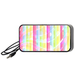 Colorful Abstract Stripes Circles And Waves Wallpaper Background Portable Speaker (black)
