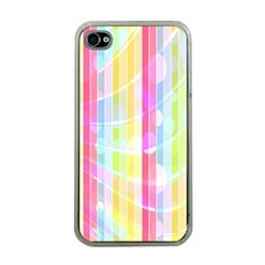 Colorful Abstract Stripes Circles And Waves Wallpaper Background Apple Iphone 4 Case (clear)